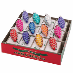 """Christmas Confetti 1.75"""" Pinecones  (Set of 12) by Christopher Radko  - Special Order (Available Sep"""