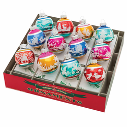 """Christmas Confetti 1.75"""" Signature Flocked Rounds  (Set of 12) by Christopher Radko  - Special Order"""