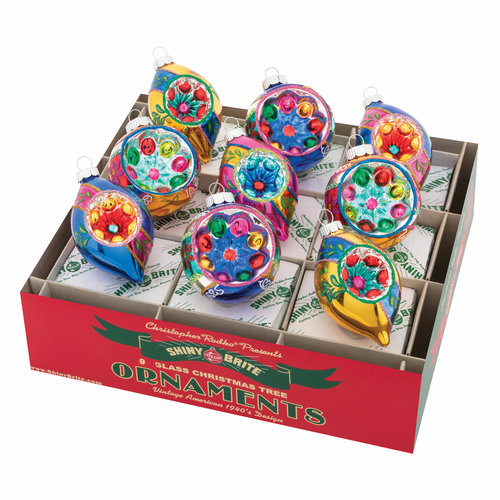 "Christmas Confetti 2.5"" Decorated  Reflector Rounds & Tulips by Christopher Radko (Set of 9) (Ships"