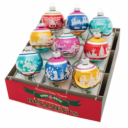 """Christmas Confetti 2.5"""" Signature Flocked Rounds  (Set of 9) by Christopher Radko  - Special Order ("""