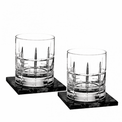 Cluin Double Old Fashioned Pair with Marble Coasters by Waterford