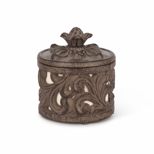 Cream Ceramic Cup with Metal Acanthus Leaf Holder - GG-Collection