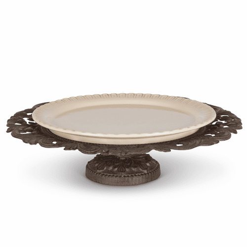 Cream Ceramic Pedestal Serving Platter with Metal Base - GG-Collection
