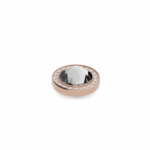 Crystal 10.5mm Rose Gold with Crystal Border Interchangeable Top by Qudo Jewelry