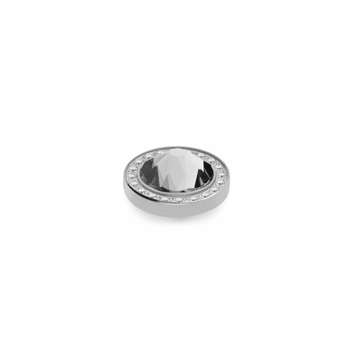 Crystal 10.5mm Silver with Crystal Border Interchangeable Top by Qudo Jewelry