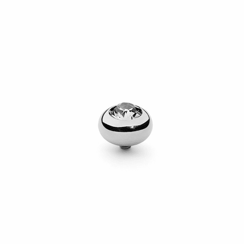 Crystal 10mm Silver Interchangeable Top by Qudo Jewelry