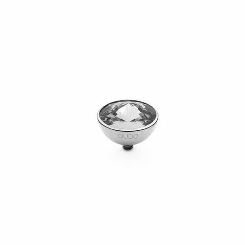 Crystal 13mm Silver Interchangeable Top by Qudo Jewelry
