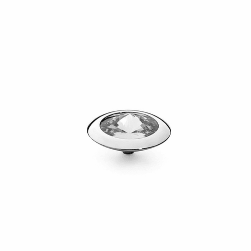 Crystal 16mm Silver Interchangeable Top by Qudo Jewelry