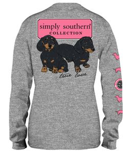 Dachsund Logo Heather Gray Long Sleeve Tee by Simply Southern