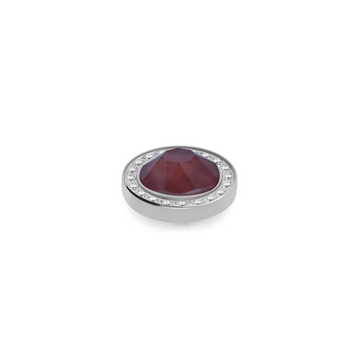Dark Red 10.5mm Silver with Crystal Border Interchangeable Top by Qudo Jewelry