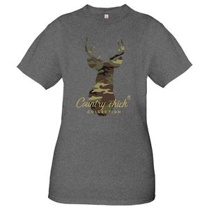 Deer Camo Dark Heather Grey Country Chick  Short Sleeve Tee by Simply Southern