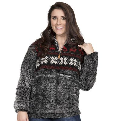 Deer Sherpa Pullover by Simply Southern