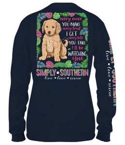 Dog I'll Be Watching You Midnight Long Sleeve Tee by Simply Southern