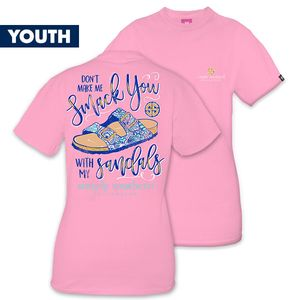 Don't Make Me Smack You With My Sandals YOUTH Short Sleeve Tee by Simply Southern