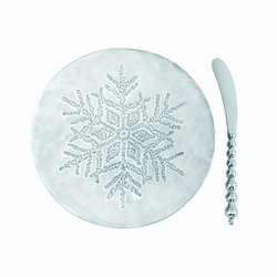 Dotty Snowflake Ceramic Canape Plate & Beaded Spreader by Mariposa