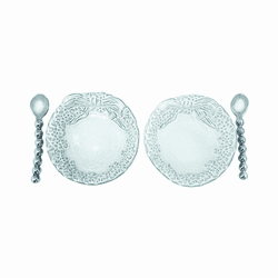 Dotty Wreath Ceramic Open Salt Spoon Set by Mariposa