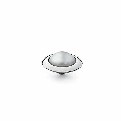 Dove Grey Pearl 16mm Silver Interchangeable Top by Qudo Jewelry