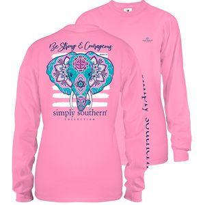 Flamingo Pink Strong and Courageous Elephant Long Sleeve Tee by Simply Southern