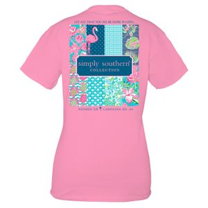 Flamingo Preppy Logo Short Sleeve Tee by Simply Southern