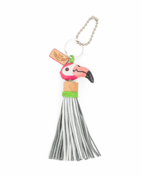 Flamingo with Silver Tassel  Charm by Consuela
