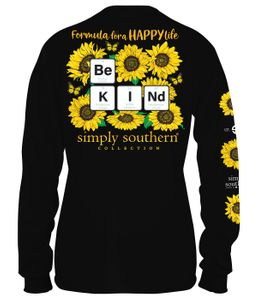 Formula for a Happy Life Be Kind Sunflower Black Long Sleeve Tee by Simply Southern