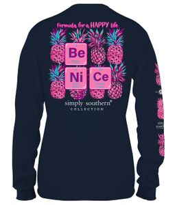 Formula for a Happy Life Be Nice  Midnight Long Sleeve Tee by Simply Southern