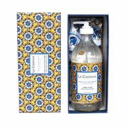Fresh Sicilian Lemon Scented Liquid Hand Wash 16 oz. Bottle & Tea Towel Gift Set by Le Cadeaux