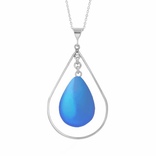 Frosted Blue Drop with Loop Pendant by LeightWorks Wearable Fine Art