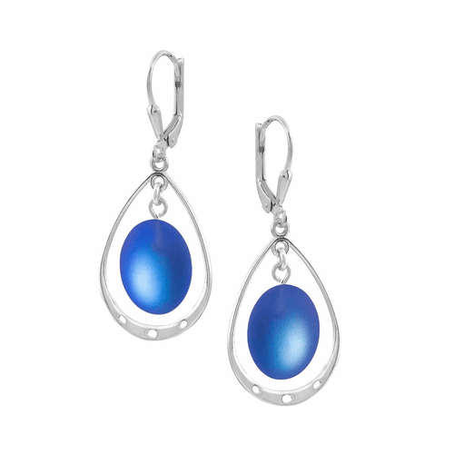 Frosted Blue Oval with Loop Earrings by LeightWorks Wearable Fine Art
