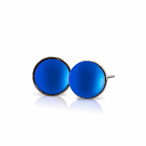 Frosted Blue Small Stud Earrings by LeightWorks Wearable Fine Art