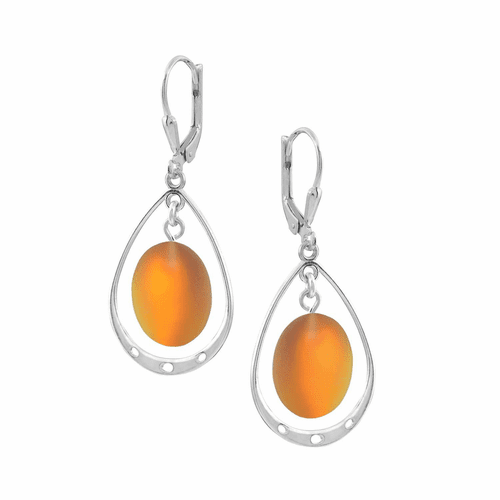 Frosted Fire Oval with Loop Earrings by LeightWorks Wearable Fine Art