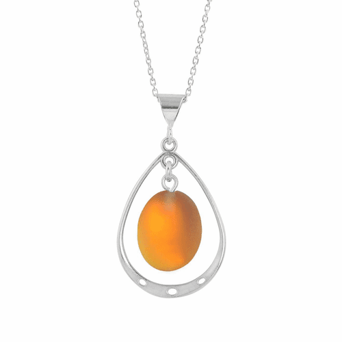 Frosted Fire Oval with Loop Pendant  by LeightWorks Wearable Fine Art