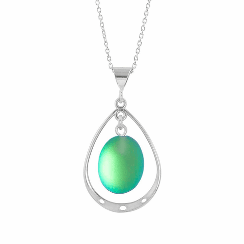 Frosted Green Oval with Loop Pendant  by LeightWorks Wearable Fine Art