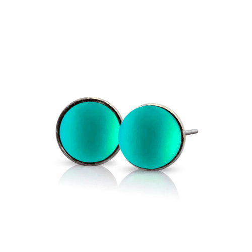 Frosted Green Small Stud Earrings by LeightWorks Wearable Fine Art