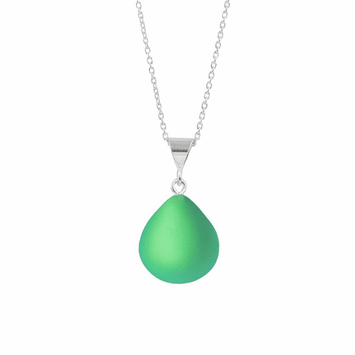 Frosted Green X-Small Drop Pendant by LeightWorks Wearable Fine Art