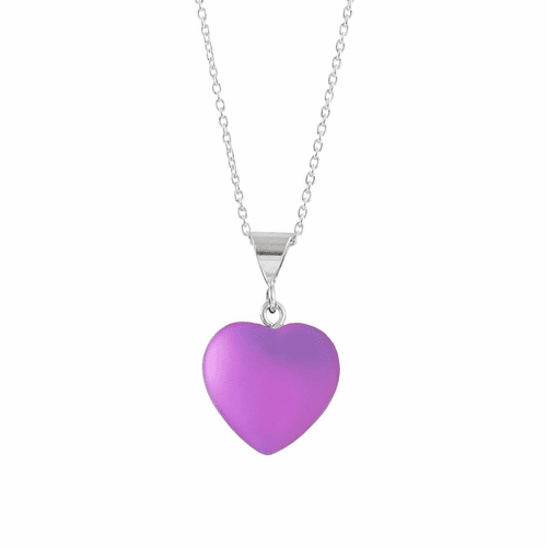 Frosted Pink Small Heart Pendant by LeightWorks Wearable Fine Art