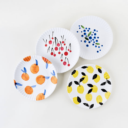 """Assorted Fruit """"Paper Plate Look"""" Melamine 9"""" Plate by One Hundred 80 Degrees - Set of 4"""