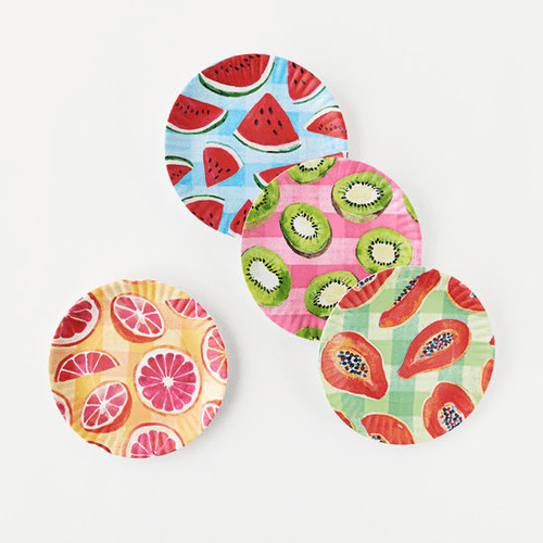 "Gingham Fruit ""Paper Plate Look"" Melamine 9"" Plate by One Hundred 80 Degrees - Set of 4"