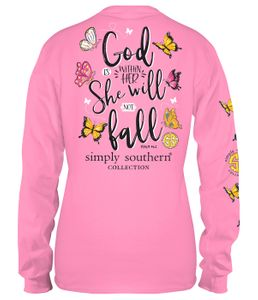 God Within Her Butterfly Flamingo Long Sleeve Tee by Simply Southern