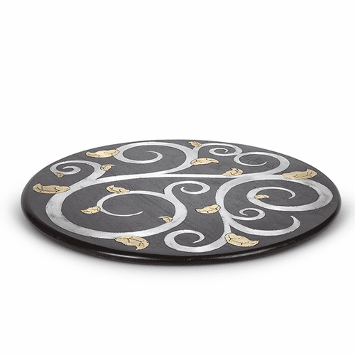 "Gold Leaf Mango Wood with Metal Inlay 22"" Lazy Susan - GG Collection"