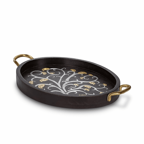 Gold Leaf Mango Wood with Metal Inlay Small Oval Tray with Handles - GG Collection