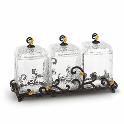 Gold Leaf Textured Glass Canisters with Metal Base - Set of 3 by GG Collection
