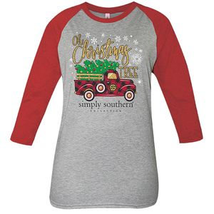 Gray and Red Christmas Tree Truck Long Sleeve Tee by Simply Southern