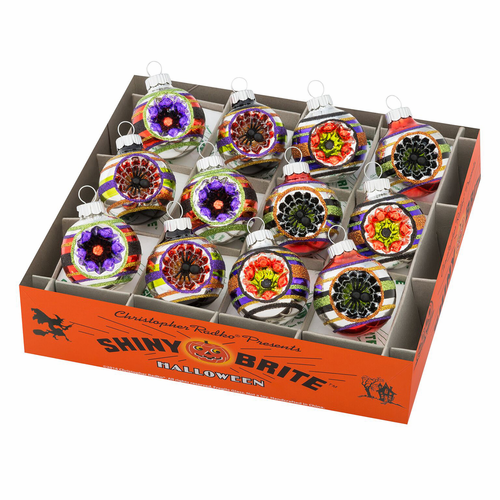 """Halloween 1.75"""" Decorated Rounds With Reflectors (Set of 12) by Christopher Radko"""