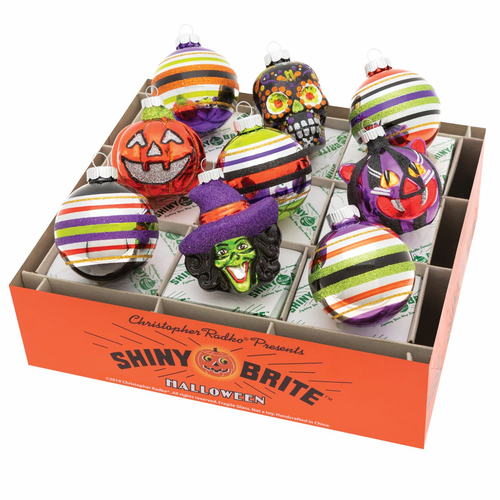 """Halloween 2.5"""" Decorated Rounds & Figures  (Set of 9) by Christopher Radko"""