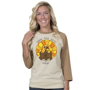 Happy Fall Y'all Oatmeal and Camel Country Chick Long Sleeve Tee by Simply Southern