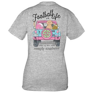 Heather Gray Football Short Sleeve Tee by Simply Southern