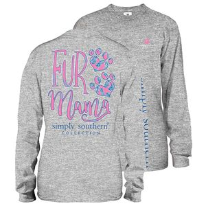Heather Gray Fur Mama Long Sleeve Tee by Simply Southern