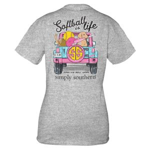 Heather Gray Softball Short Sleeve Tee by Simply Southern