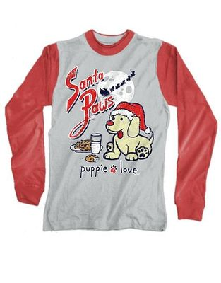 Heather Grey and Red Santa Paws Long Sleeve Tee by Puppie Love